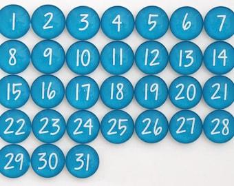 31 Deep Sky Blue Calendar Number Glass Magnets - NEW!