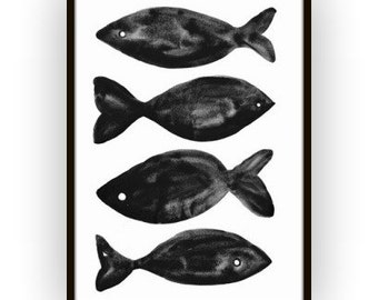Fish art Printable BLACK AND WHITE sea beach ocean print wall art Digital bathroom decor poster nursery print prussian oceanic Sea deco