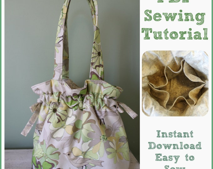 Sewing Tutorial PDF Drawstring Shoulder Bag Purse Tote 6 Pockets