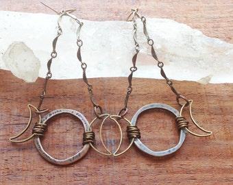 Triple Moon Earrings, wicca, wiccan, triple moon goddess