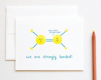 Strongly Bonded Love Chemistry Science Letterpress Card
