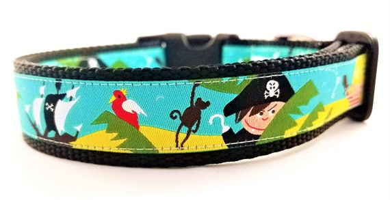 Pirate Adventure - Dog Collar / Adjustable / Dog Collars / Large Dog Collar / Pirates / Monsters / Dog Lover  / Gift Idea / Collars