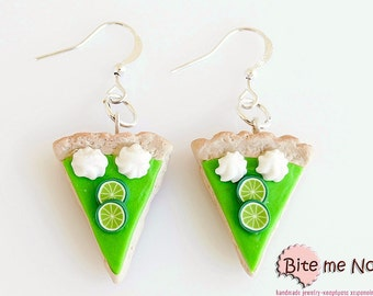 Food Jewelry Lime Tarts and Whipped Cream Earrings, Lime Tarts Hooks, Mini Food,  Polymer Clay Sweets, Miniature Food, Kawaii Jewelry