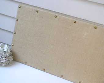Long and Narrow BURLAP MAGNETIC BOARD 15 x 40 in Organization Bulletin Board with Hardwood Construction and Brass Upholstery Nail Head Tacks