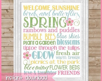 SPRING or May Flowers Subway Art - Printable INSTANT DOWNLOAD
