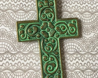 Cross Pendant Patina Floral Ornate Turquoise GREEN Bronze Antiqued Gold Pewter Necklace, Jewelry Supply