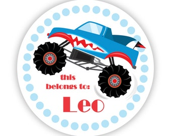 Name Label Stickers - Blue Polka Dots, Cute Shark Monster Truck Personalized Name Tag Stickers - Round Tags - Back to School Name Labels