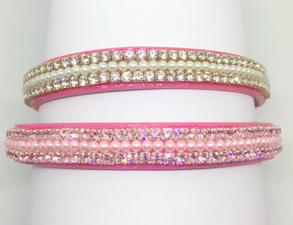 Cutie Pie Pets Collars™ Pink Topaz or Diamond Pearls~ Crystal Diamante Rhinestone PU Leather Dog Cat SAFETY Collar USA!