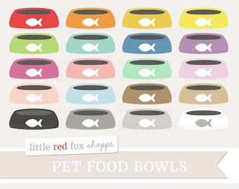 Pet Food Bowl Clipart, Food Bowls Clip Art, Dog Clipart, Cat Clipart, Puppy Clipart, Cute Digital Graphic Design Small Commercial Use