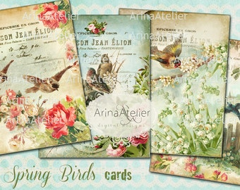 Spring Birds Cards - 3,5 x 4,5 inch - Set of 4 cards - digital spring Collage Sheet - Scrapbooking - Vintage Collage Images - Digital Tags