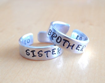 Brother To Sister Cuff Ring Set Family Gift Aluminum Cuff Ring  Hand Stamped