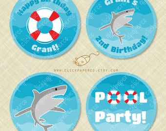 Shark Pool Party Custom Cupcake Toppers Printable Circle Tags Stickers Favor download birthday diy digital pdf life preserver