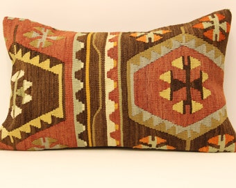 kilim pillow cover.12x20 Turkish handmade  decorative home design OE-17