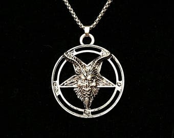 DEMONIC POSSESSION, baphomet necklace, goat pentagram, satanic necklace, satanic warlock, DEMONCY, occult jewelry, left-hand path, inverted