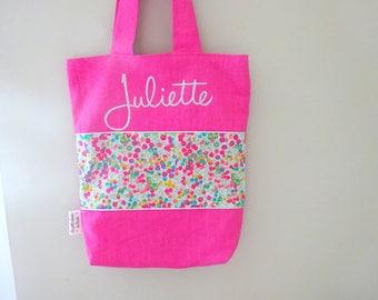 Child tote bag linen Liberty customizable name
