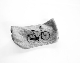 Bike Head Band - Womens Head Band-  Unisex - Heather Grey Bicycle, Bike - turban - hat - headwear - hair accessories