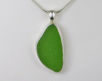 Green Sea Glass Bezel Pendant Necklace Maine