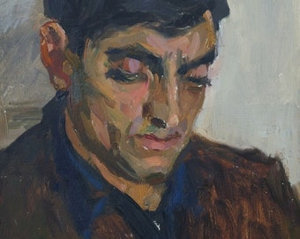 Portrait Man original oil painting, oil portrait paintings, Ukrainian artist Bondarenko S. Port-30-22 km. 70е 0,1