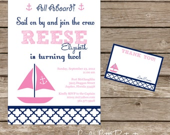 DIY Printable Sail on By Nautical Birthday Invitation Kit - Invite AND Thank You Card included