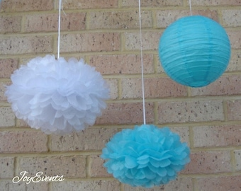 Aqua Blue White Paper Pom Poms & Paper Lanterns for Wedding Engagement Anniversary Birthday Party Bridal Baby Shower Hanging Decoration