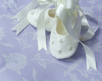 Tripple Bead Silk Christening Bootie by Okika made in England