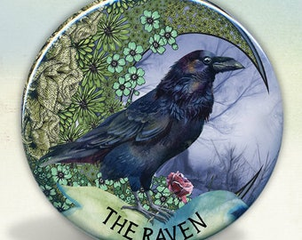 Moon Raven Pocket Mirror