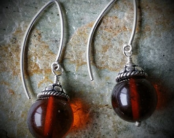 Amber and Thai silver earrings