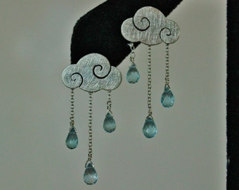SWEET CLOUDS - sterling silver cloud earrings with rain drops - blue topaz stone - handmade - made in italy - satin finish