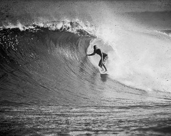 Surfing Photos: Fine Art Surf Photography Print on Metal, Canvas or Paper. Black and White Print of a Surfer on a Surfing in Hawaii