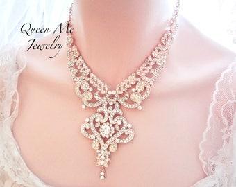 Rose gold bib statement necklace Rose gold crystal necklace Statement Wedding necklace Brides necklace Rose gold crystal necklace  MIA