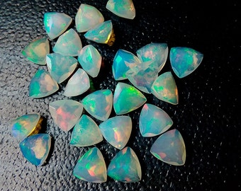 4mm Trillion 5 Pieces Natural Ethiopian Welo Opal Cut Top Quality Multi For Opal Jewelry DDE