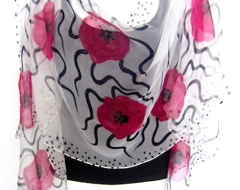 Poppies Silk Scarf, Hand Painted Silk Scarf, Red Black White, Floral Chiffon Silk Scarf, Gift For Her