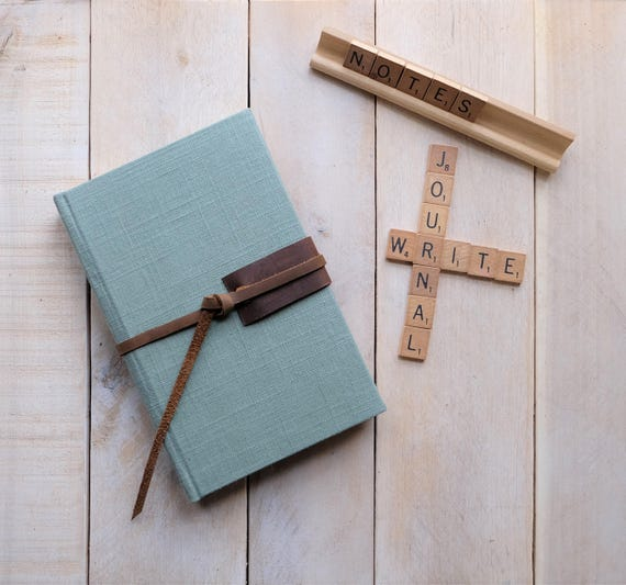 "Linen and Leather Journal in ""Sea Glass Green"""