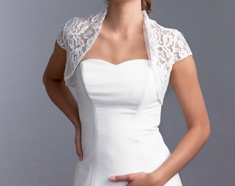 Cap sleeve wedding bolero, Wedding jacket with short sleeves, Bridal bolero, Lace jacket, lace bolero
