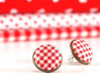 Red Stud Earrings - Red Gingham Earring Studs - Red and White Earrings - Fabric Covered Buttons Earrings Antique Posts Jewelry