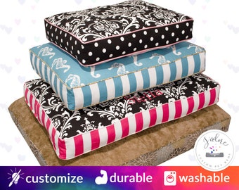 Cushion Dog Beds that you design -- Choose your Fabrics, Size, and Filling  |  Fiberfill or Foam Insert Included - High Quality