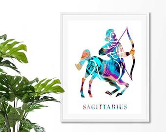 Sagittarius #1 Watercolor Astrology Art Print, Sagittarius  Sign , Sagittarius Zodiac, Sagittarius Wall Art, Sagittarius Poster