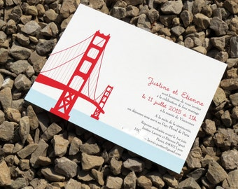 San Francisco Wedding Invitation Set - Golden Gate Bridge - Wedding Invitation Set - Custom