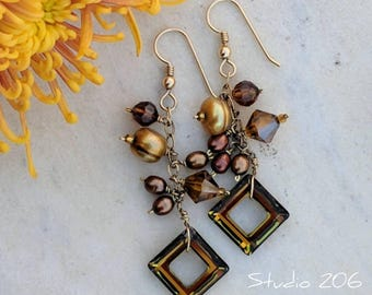Rich brown cluster earrings