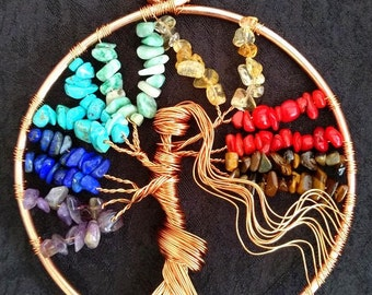 Lady Suncatcher Tree of Life Chakra Copper Ornament Gift