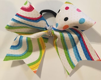 One sequins bow with rainbow colors cheer bow