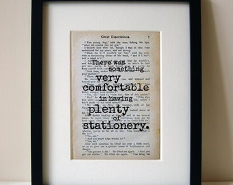 "Great Expectations - Book Quote Print - Birthday Gift - Teacher Gift - ""There was something very comfortable..."""