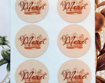 Stickers Crown Merci French Envelope Seals Wedding Party Favor Treat Bag Sticker SP054