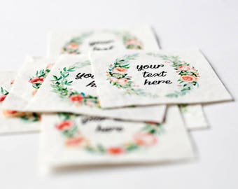 Elegant Rose Wreath Labels - Personalized Sewing Labels with Watercolor Flowers
