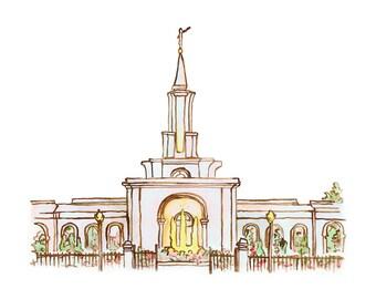 Sacramento LDS Temple Watercolor Print (DIGITAL)