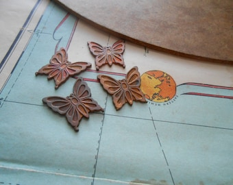 4 pc vintage butterfly insect animal stampings charms - old new stock vintage jewelry making charms