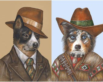 Australian Friends - 2 Art Prints - Aussie Cattle Dog and Aussie Shepherd - Australian Wall Art - Funny Pet Portraits by Maria Pishvanova