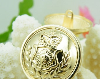 6 Pcs 0.51~0.91 Inches High-grade Rose Gold Lion Crown Metal Shank Buttons For Coats