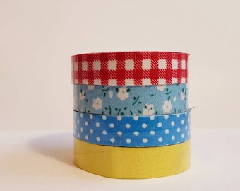Cloth Washi Tape-  solid dot gingham floral