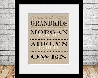 Grandparents Gift Print, Parents Promoted to Grandparents, Grandchildren Names and Birthdates Print, Christmas Gift for Grandparents,